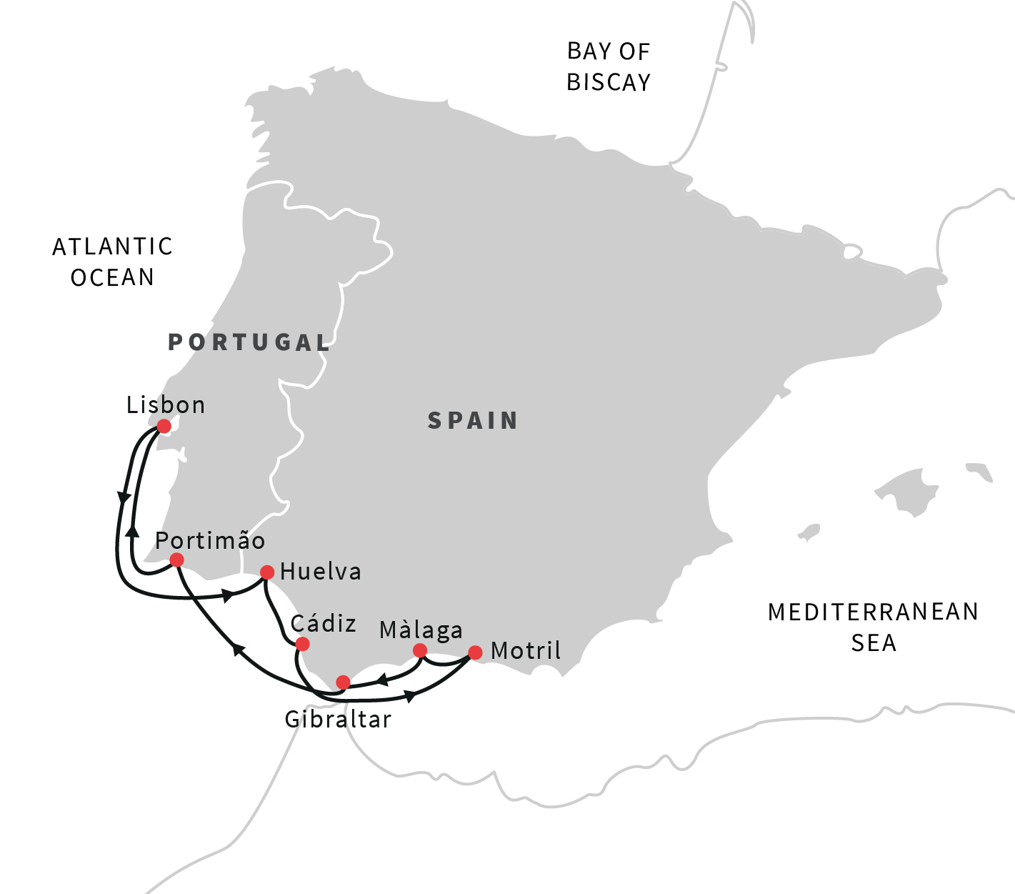South Coast Of Spain Map.Cruise The Coast Of Algarve And Andalucia Lisbon Roundtrip